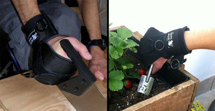 A person uses active hands wrapping aide. It wraps a persons hand around a handle such as a handsaw or hand trowel for gardening and digs into dirt