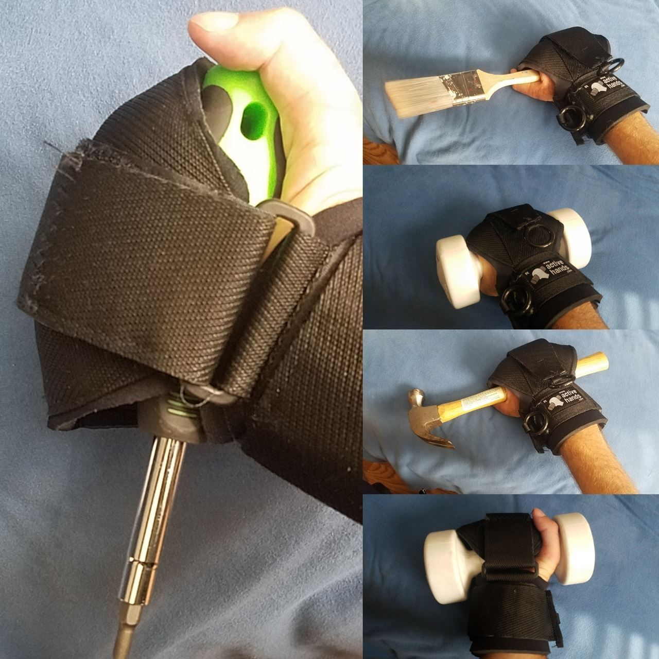 a hand is shown with a glove/wrap that is used to hold items in a person's palm that lacks hand function. image are shown with the person having their hand wrapped around a screwdriver, a weight, a paintbrush, and a hammer