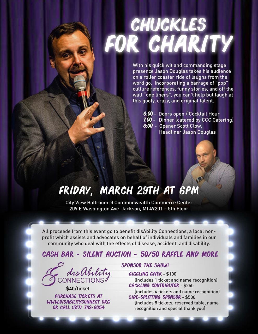 Chuckles for Charity fundraiser on March 29 at 6PM.  tickets are $40 for entry and dinner.  Cash bar, silent auction, raffle and more