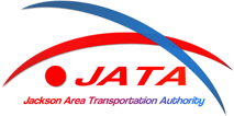 Jackson Area Transit Authority logo. a blue arch crosses over a red arch with JATA underneath