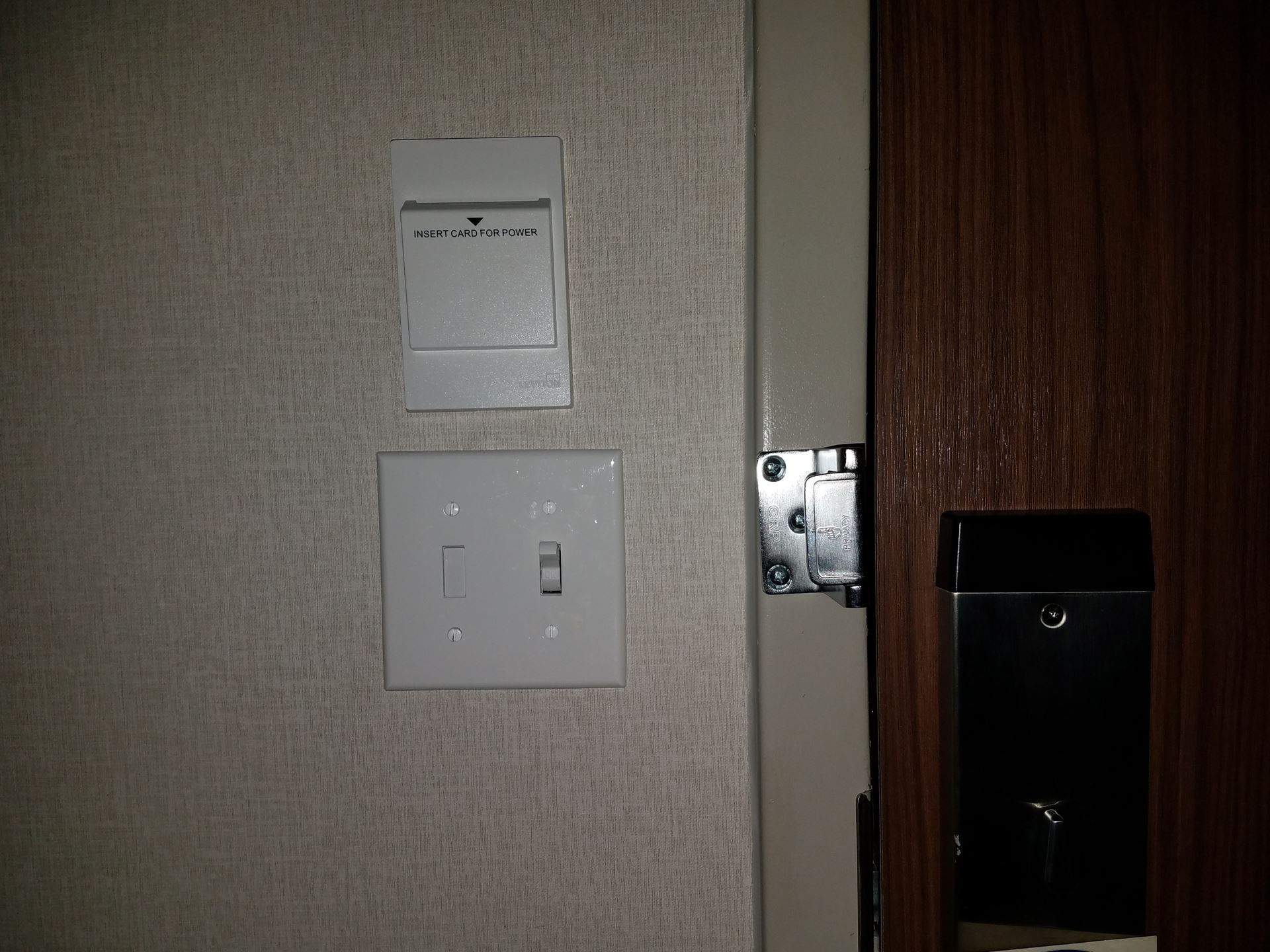 Card slot above light switch