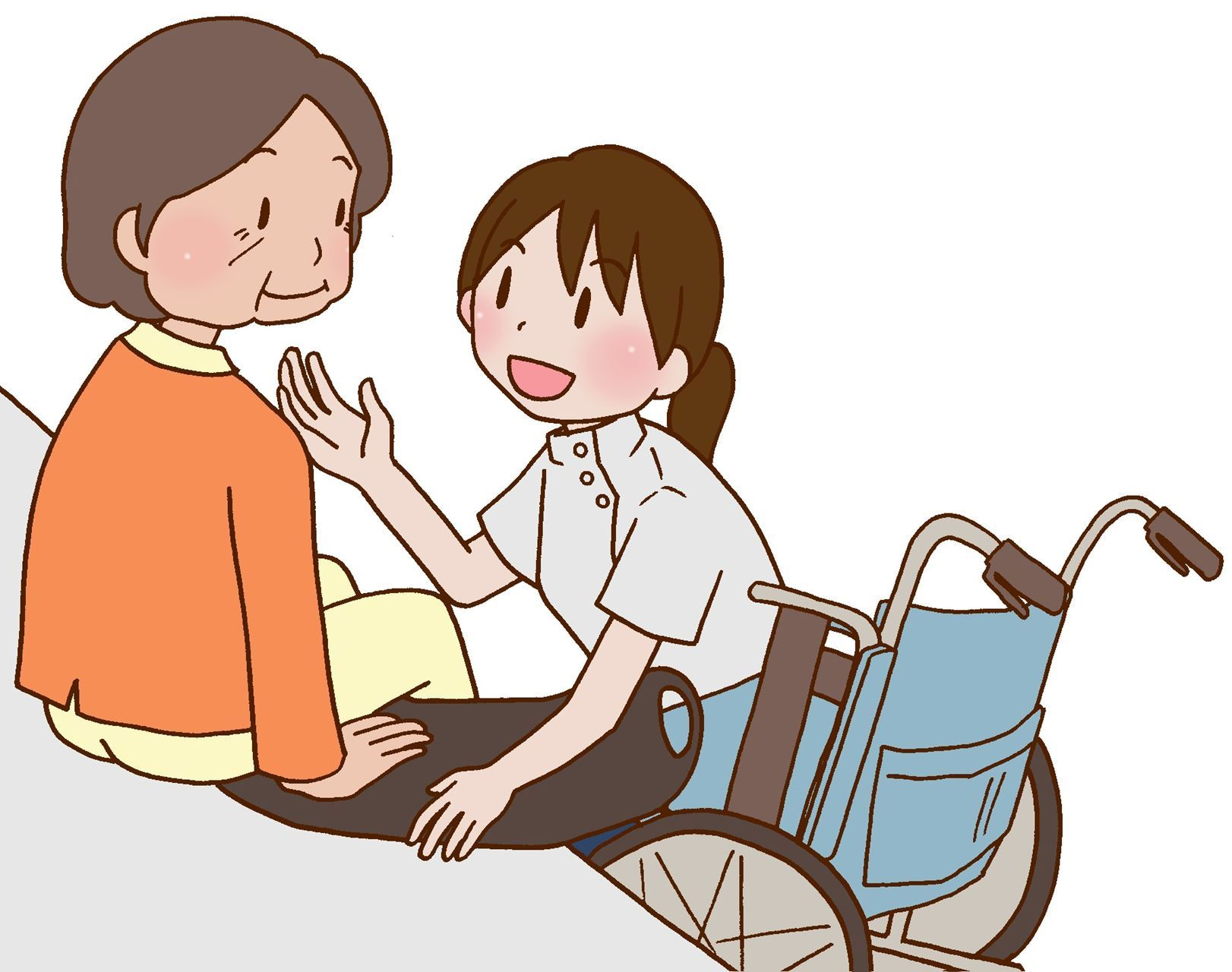 two cartoon women are shown, one sits on the edge of her bed in an orange sweater and yellow pants while the other kneels in front of her with a grey smock. The one kneeling is a caregiver waiting to help as the other women transfers from the bed into a wheelchair.