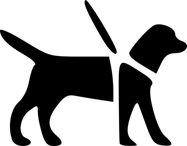 a black and white outlined image of service dog